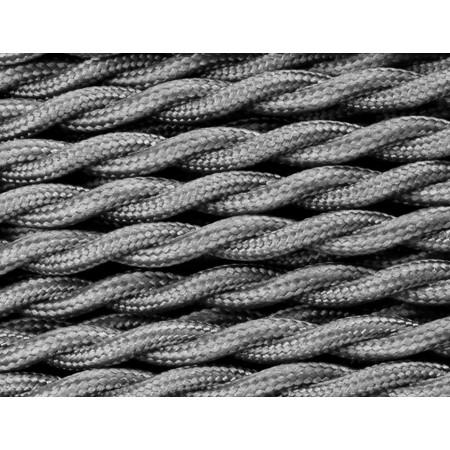 Cable Textil Gris Trenzado