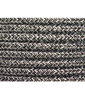 Cable Textil Negro Blanco Matizado