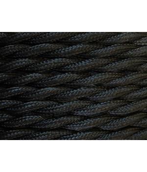 Cable Textil Negro Trenzado