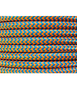 Cable Textil Rayado Azul Anaranjado