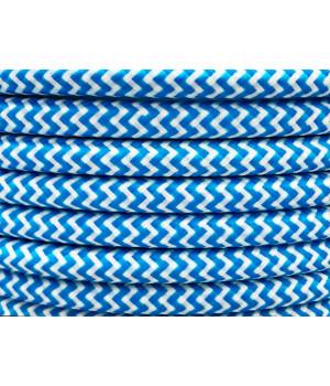 Cable Textil Rayado Blanco Azul