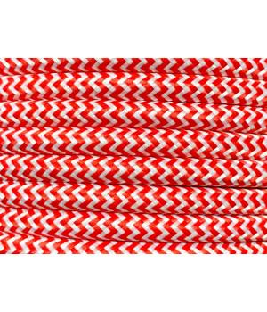 Cable Textil Rayado Blanco Rojo