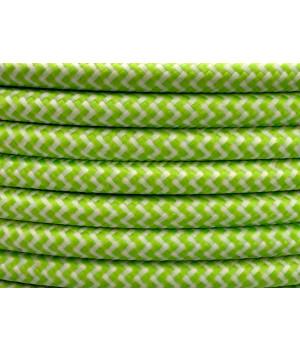 Cable Textil Rayado Blanco Verde