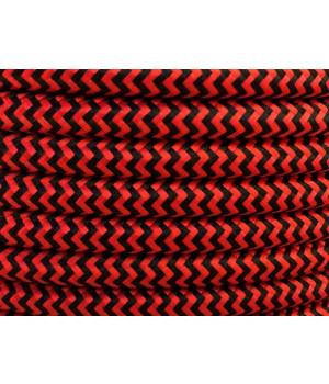 Cable Textil Rayado Rojo Negro