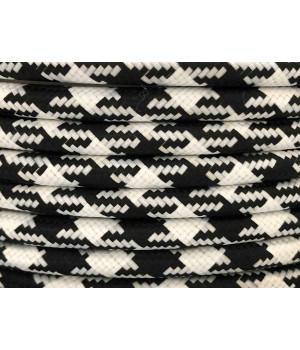 Cable Textil Rayado Blanco Negro Pata de Gallo
