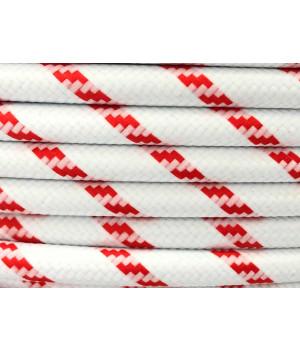 Cable Textil Rayado Blanco Rojo Pata de Gallo
