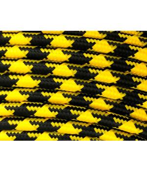 Cable Textil Rayado Negro Amarillo Pata de Gallo